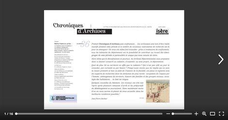 Copie d'écran du feuilletage de Chroniques d'Archives numéro 36.